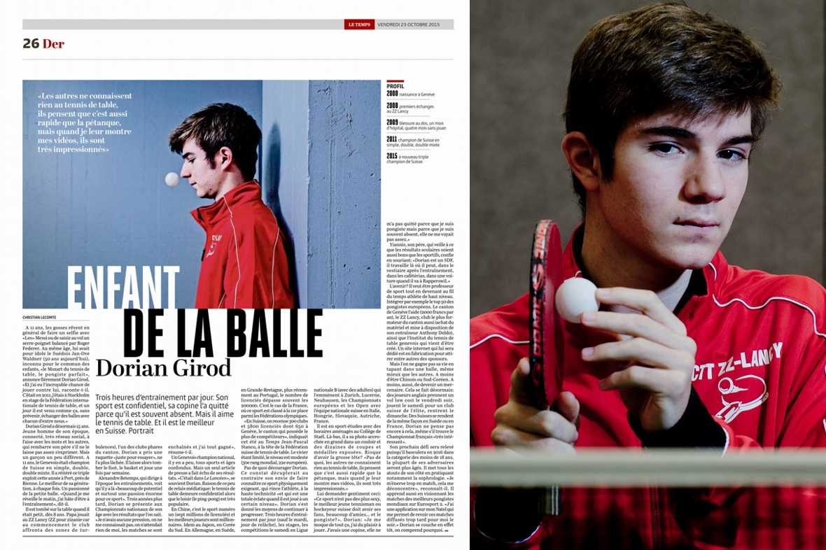 Article Journal Le Temps Der page 26 octobre 2015 - Dorian Girod enfant de la balle